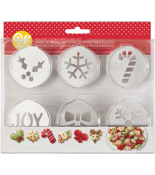 wilton 6 piece holiday cookie press disc set