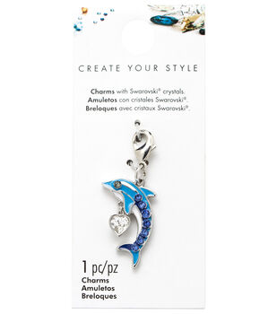 Swarovski Create Your Style Dolphin Charm-Blue & Clear Crystals