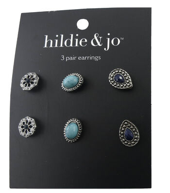 hildie & jo 3 Pack Antique Silver Earrings