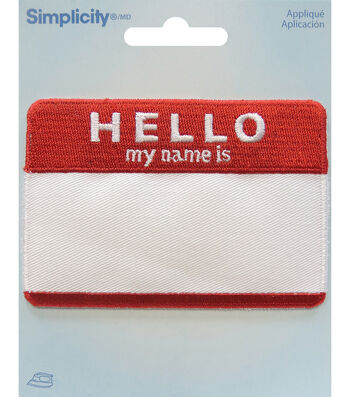 Simplicity Embroidered Iron-On Applique-Hello My Name Is