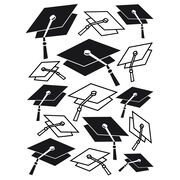 Darice Embossing Folder Graduation Hat Background, , hi-res