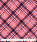 Snuggle Flannel Fabric-Coral Navy Bias Plaid