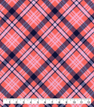 Snuggle Flannel Fabric-Coral & Navy Bias Plaid
