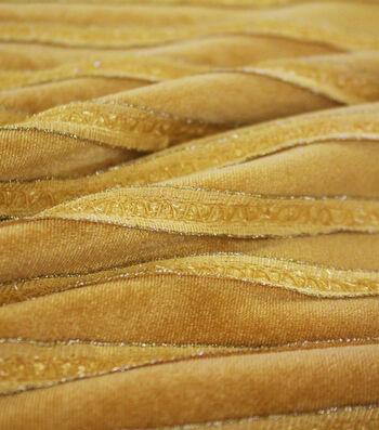 Sew Sweet Ribbon Ruffled Velvet Fabric-Gold & Ivory