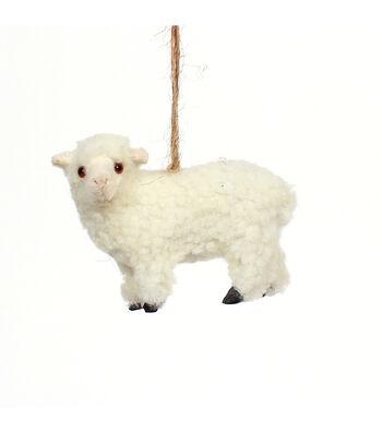 Maker's Holiday Christmas Furry Baby Lamb Ornament