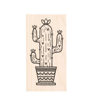 American Crafts Wooden Stamp Cactus