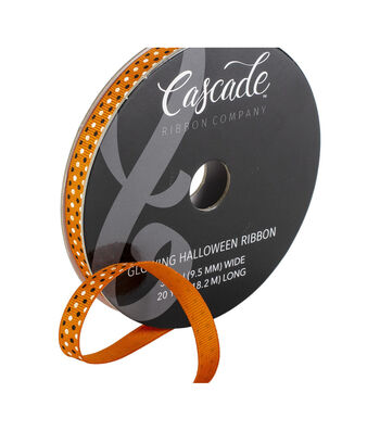 Cascade Halloween Grosgrain Ribbon 0.38''x20 yds Ribbon-Dots on Orange