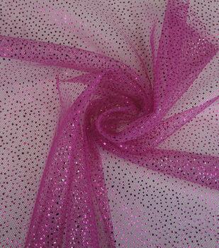 Glitterbug Mesh Fabric -Fuchsia Foil Dot