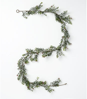 Blooming Holiday Christmas 66'' Snow Leaves & Berry Garland-Red & Green