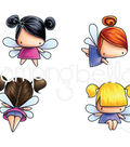 Stamping Bella 4 pk Rubber Cling Stamps-Little Bits Fairies