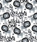 Snuggle Flannel Fabric -Black & White Lions