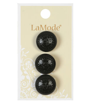 LaMode 18mm Black Etched Shank Button
