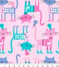 Anti-Pill Fleece Fabric-Cats In Sweaters