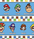 Nintendo Super Mario Cotton Fabric 43\u0022-Character Stripe