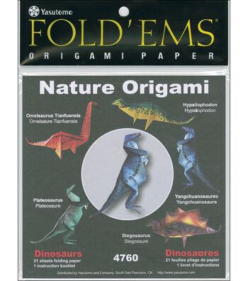 "Fold 'Ems Origami Paper 6""x6"" 21/Pkg-Dinosaurs"