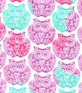 Snuggle Flannel Fabric -Tribal Owl Stamp