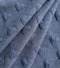 Doodles Stretch Denim Fabric 58\u0022-Medium Heather Blue Puffed Heart