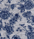 Luxe Flannel Fabric -Navy Flowers On Gray Heather