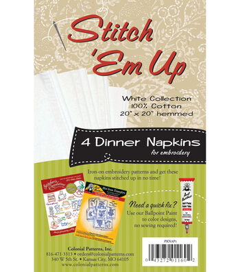 Stitch 'em Up Dinner Napkins For Embroidery 4/Pkg- White