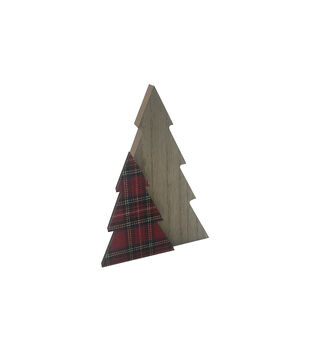 Handmade Holiday Christmas Large Tree Tabletop Decor-Tartan