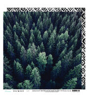 Heidi Swapp Wolf Pack Double Sided Cardstock-Pine Trees & Diamonds, , hi-res