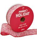 Maker\u0027s Holiday Christmas Glitter Ribbon 1.5\u0027\u0027x30\u0027-Red & White Speckles