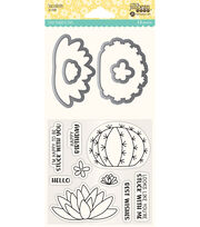 Hampton Art Jillibean Soup Shaker Clear Stamps & Die Set-Succulents, , hi-res