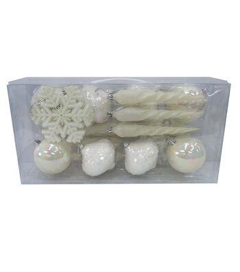 Maker's Holiday Christmas Mixed Media Boxed Ornaments-Ivory & White
