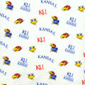 University of Kansas Jayhawks Cotton Fabric -White