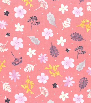 Premium Cotton Fabric 43''-Astrid Garden Tossed on Pink