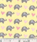 Nursery Flannel Fabric -Dream Big Mini Elephant Yellow