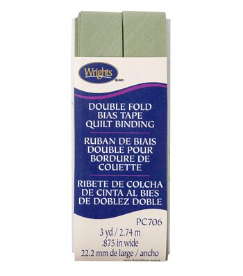 Wrights Double Fold Quilt Binding Bias Tape 7/8''x3 yds-Sage