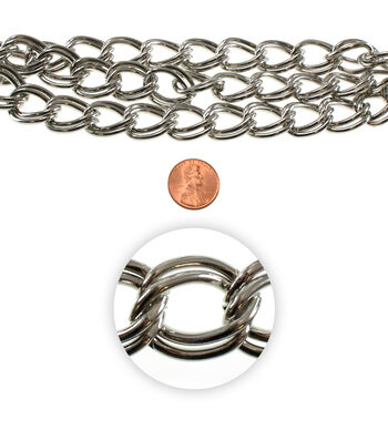 21 inch Chain Strand-Steel Chain, Large Links, White Nickel