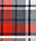 Plaiditudes Brushed Cotton Fabric -Red, Ivory & Black Grid Check