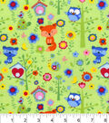 Snuggle Flannel Fabric -Woodland Fox And Owls