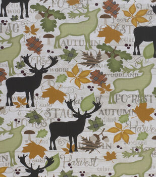 Harvest Cotton Fabric-Fall Stags On Wood