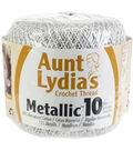 Aunt Lydias Metallic Crochet Thread Size 10-White/Silver Multipack of 12