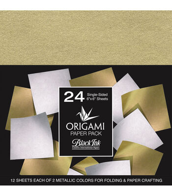 Black Ink 24 pk 6''x6'' Origami Papers-Metallic Mulberry