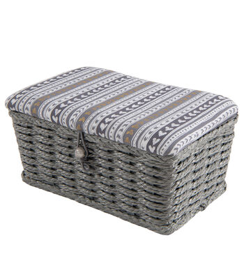 Rectangle Sewing Basket-Gray Stripe with Hearts