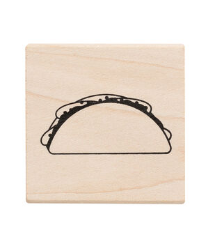 American Crafts Wooden Stamp Taco