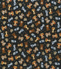 Novelty Cotton Fabric-Cute Cats On Black