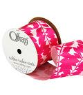 Offray 2.25\u0022 x 9\u0027 Leaf Ribbon-Pink/White