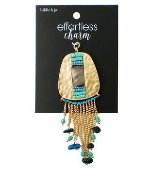 hildie & jo Effortless Charm Pendant with Turquoise Bead Dangles-Gold