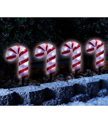 Maker's Holiday 4Pc Candycane Pathway Lights