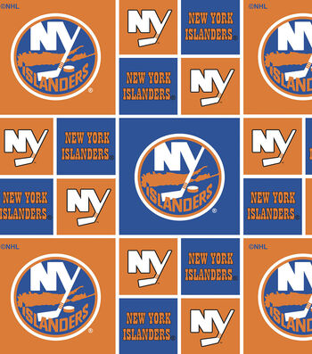 2 Yard Pre-Cut New York Islanders Quilt Cotton Fabric Remnant-Block