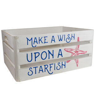 Organizing Essentials Large Wood Crate-Make A Wish Upon A Starfish