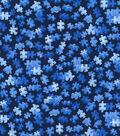 Novelty Cotton Fabric-Blue Puzzle Pieces