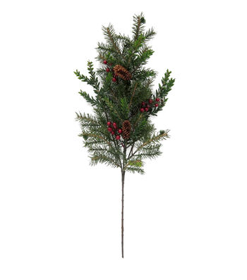 Blooming Holiday Christmas 18'' Red Berry, Hemlock & Pine Spray