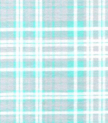 Snuggle Flannel Fabric -White & Mint Plaids