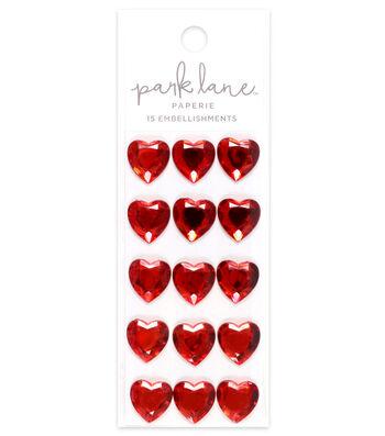 Park Lane 15 pk Large Heart Gem Embellishments-Red